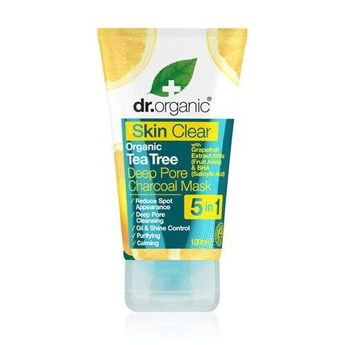 Organic tea tree deep pore charcoal mask Dr. Organic Skin Clear - 100 ml.